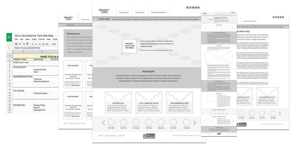 ACLU Washington - They Are Watching - Wireframes